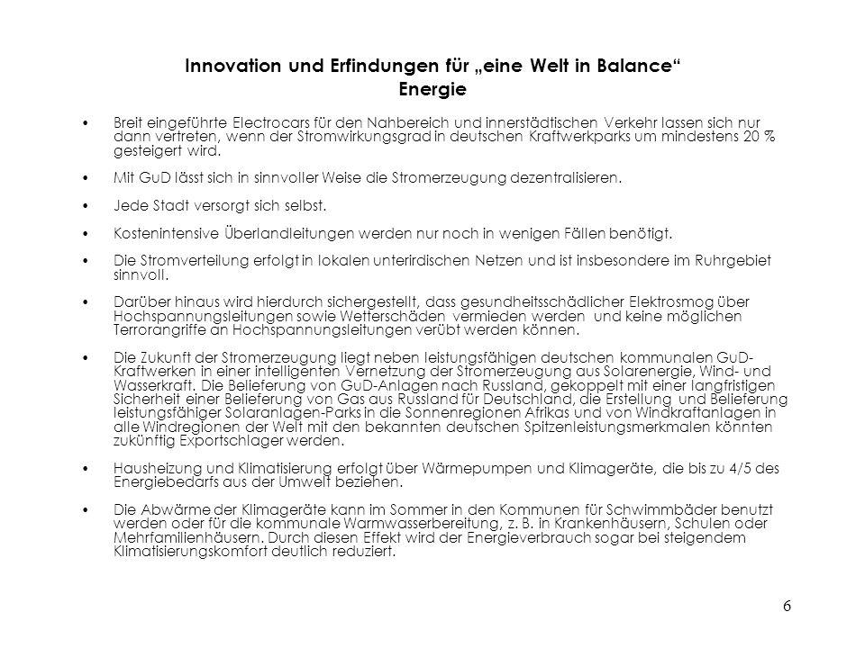 """Innovation und Erfindungen für """"eine Welt in Balance Energie"""