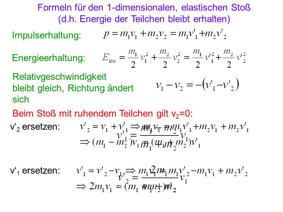 Formeln für den 1-dimensionalen, elastischen Stoß
