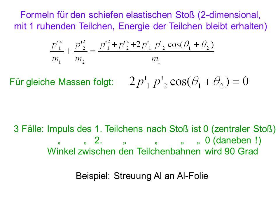 Formeln für den schiefen elastischen Stoß (2-dimensional,