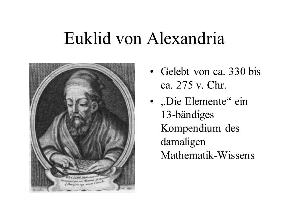 Euklid von Alexandria Gelebt von ca. 330 bis ca. 275 v. Chr.