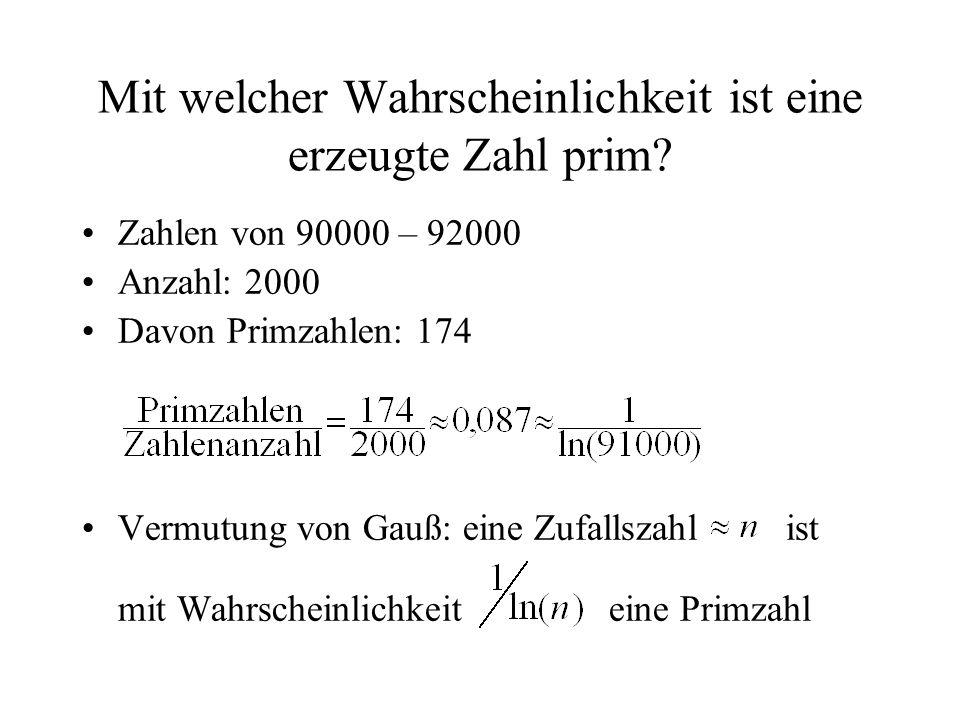 Mit welcher Wahrscheinlichkeit ist eine erzeugte Zahl prim