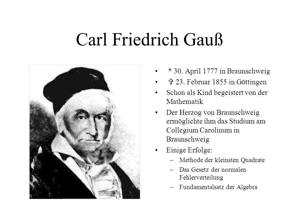 Carl Friedrich Gauß * 30. April 1777 in Braunschweig