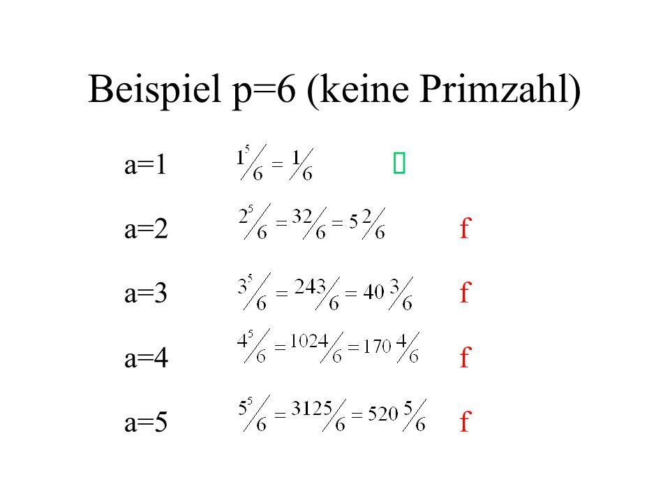 Beispiel p=6 (keine Primzahl)