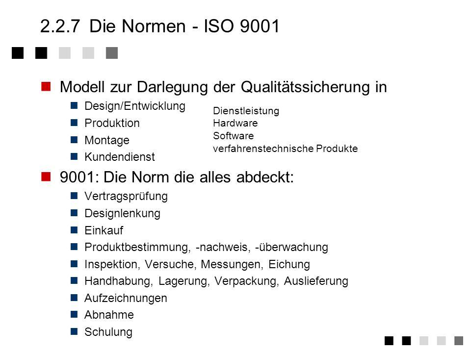 2.2.7 Die Normen - ISO 9001 Modell zur Darlegung der Qualitätssicherung in. Design/Entwicklung. Produktion.