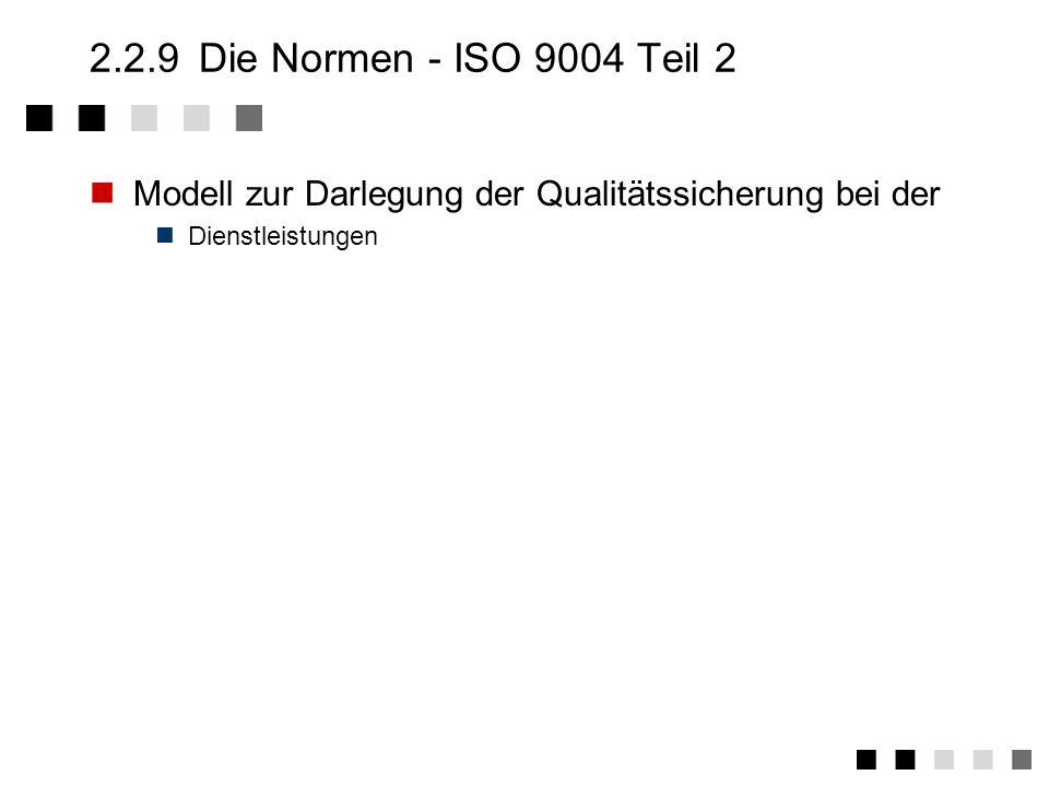 2.2.9 Die Normen - ISO 9004 Teil 2 Modell zur Darlegung der Qualitätssicherung bei der.