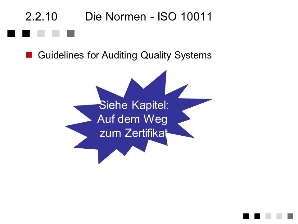 2.2.10 Die Normen - ISO 10011 Siehe Kapitel: Auf dem Weg