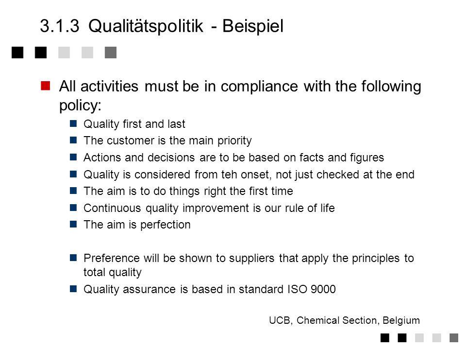 3.1.3 Qualitätspolitik - Beispiel