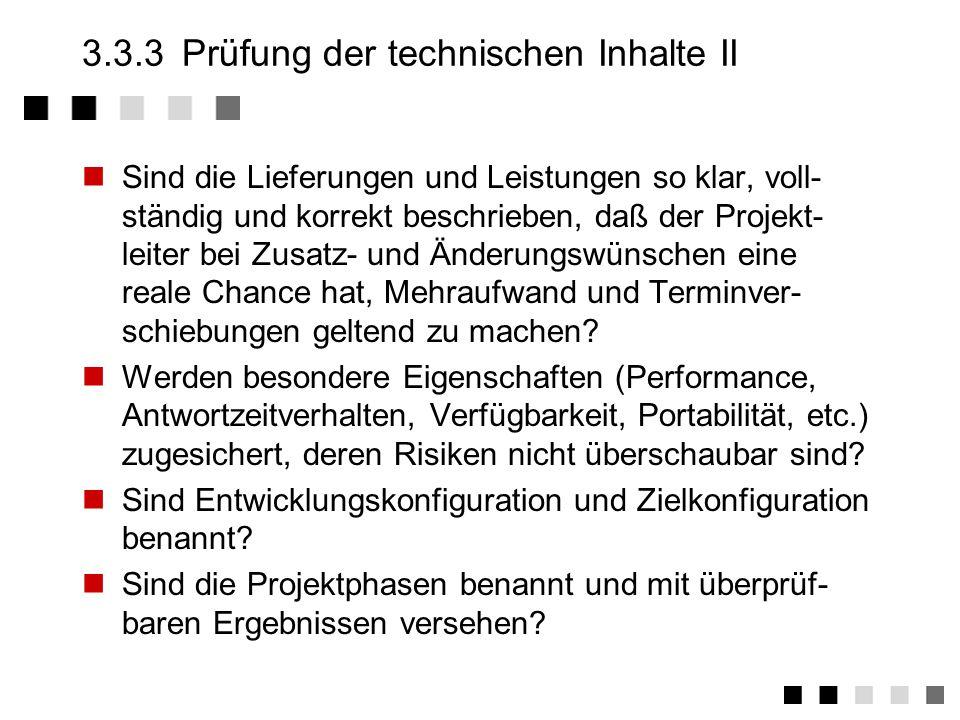3.3.3 Prüfung der technischen Inhalte II