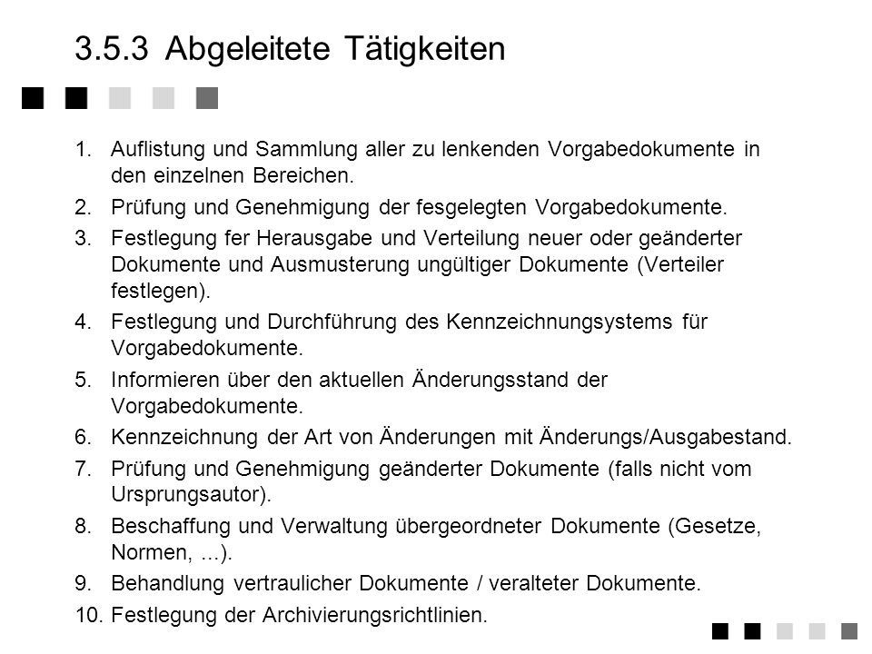 3.5.3 Abgeleitete Tätigkeiten