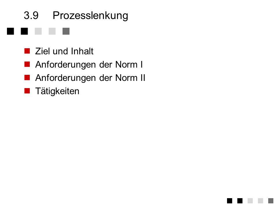 3.9 Prozesslenkung Ziel und Inhalt Anforderungen der Norm I