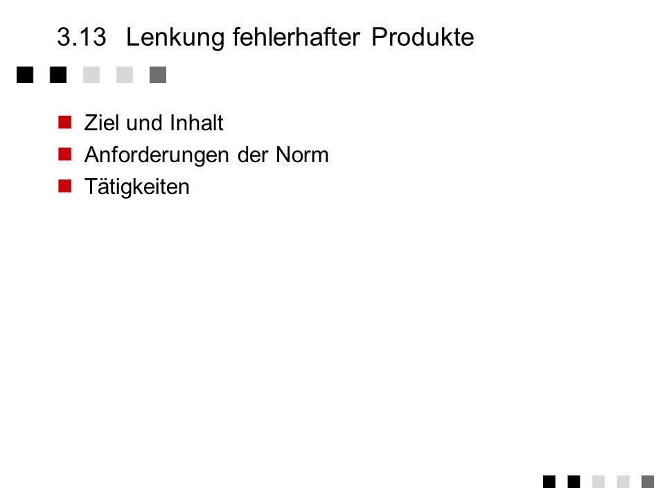 3.13 Lenkung fehlerhafter Produkte