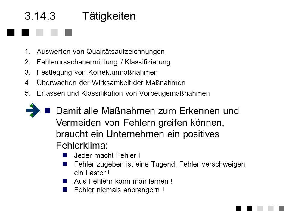 3.14.3 Tätigkeiten 1. Auswerten von Qualitätsaufzeichnungen. 2. Fehlerursachenermittlung / Klassifizierung.