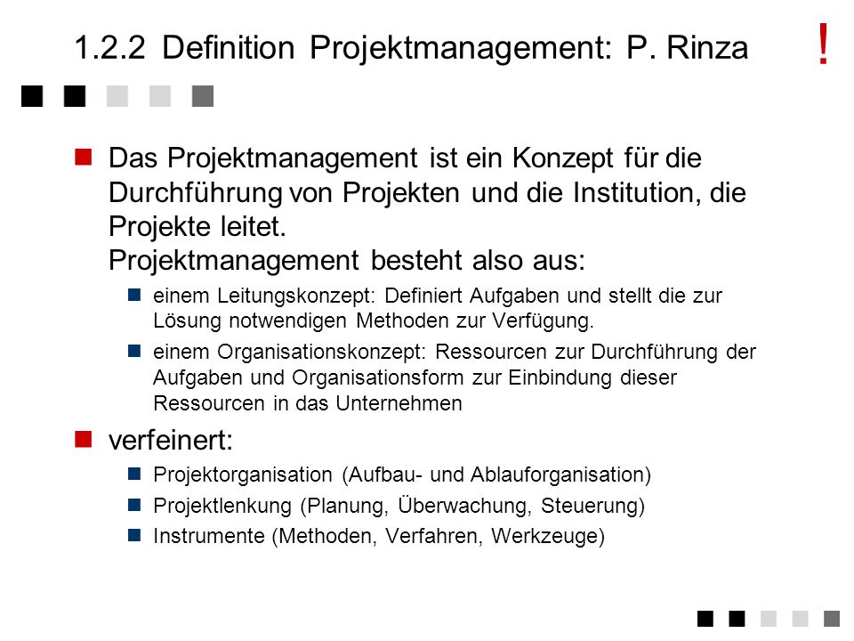 1.2.2 Definition Projektmanagement: P. Rinza