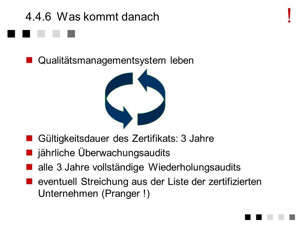 ! 4.4.6 Was kommt danach Qualitätsmanagementsystem leben