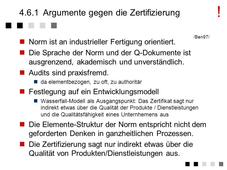 4.6.1 Argumente gegen die Zertifizierung