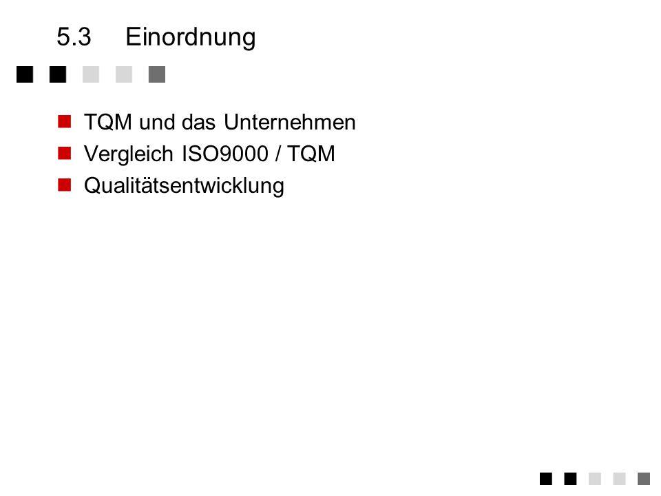5.3 Einordnung TQM und das Unternehmen Vergleich ISO9000 / TQM