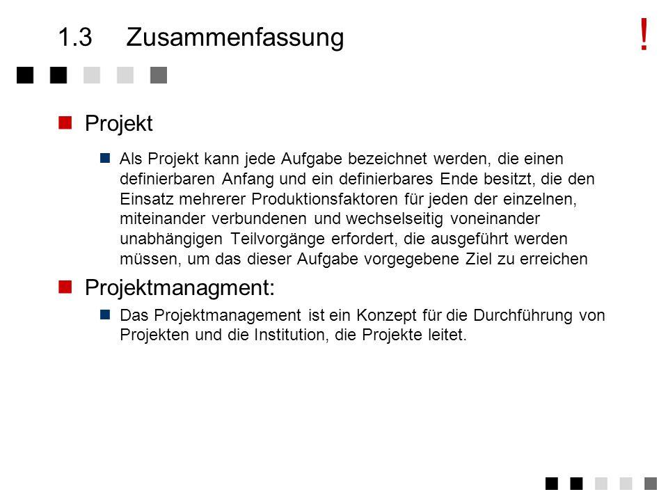! 1.3 Zusammenfassung Projekt Projektmanagment: