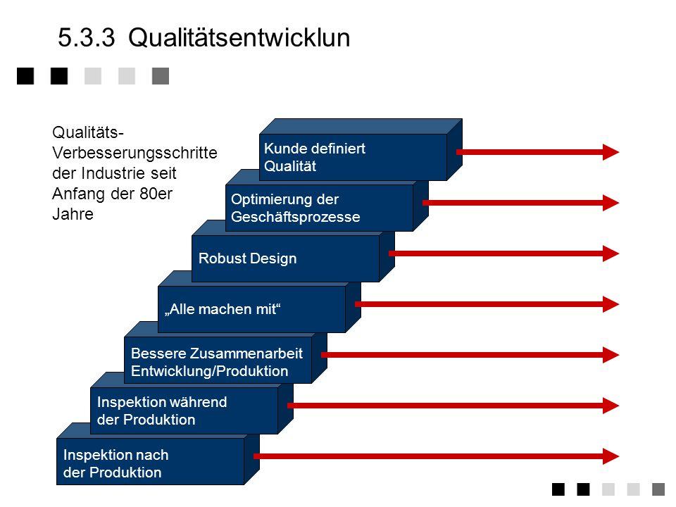 5.3.3 Qualitätsentwicklun Qualitäts- Verbesserungsschritte