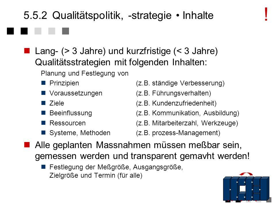 5.5.2 Qualitätspolitik, -strategie • Inhalte