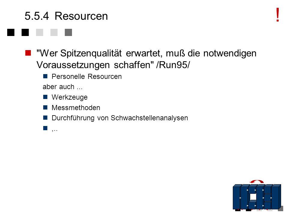 ! 5.5.4 Resourcen. Wer Spitzenqualität erwartet, muß die notwendigen Voraussetzungen schaffen /Run95/
