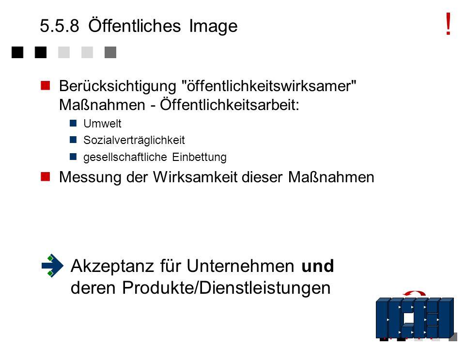 ! 5.5.8 Öffentliches Image. Berücksichtigung öffentlichkeitswirksamer Maßnahmen - Öffentlichkeitsarbeit: