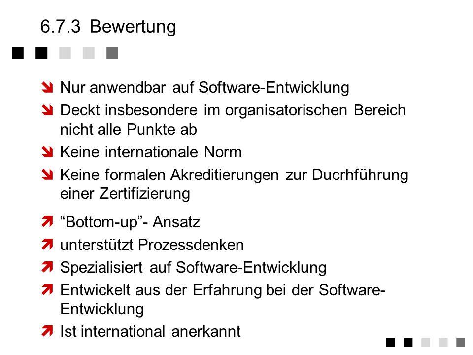 6.7.3 Bewertung Nur anwendbar auf Software-Entwicklung