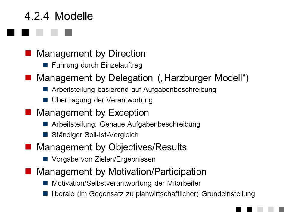 4.2.4 Modelle Management by Direction