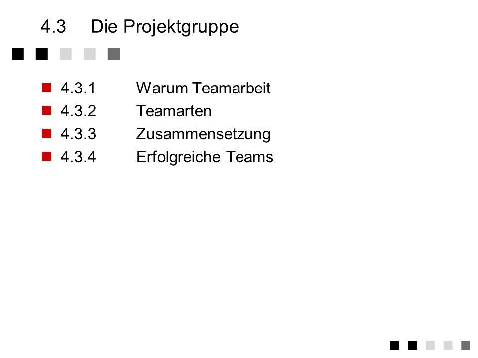 4.3 Die Projektgruppe 4.3.1 Warum Teamarbeit 4.3.2 Teamarten