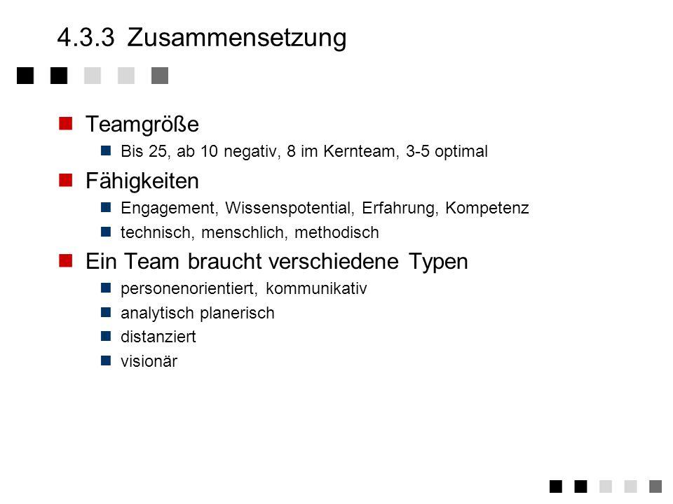 4.3.3 Zusammensetzung Teamgröße Fähigkeiten