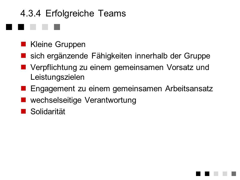4.3.4 Erfolgreiche Teams Kleine Gruppen