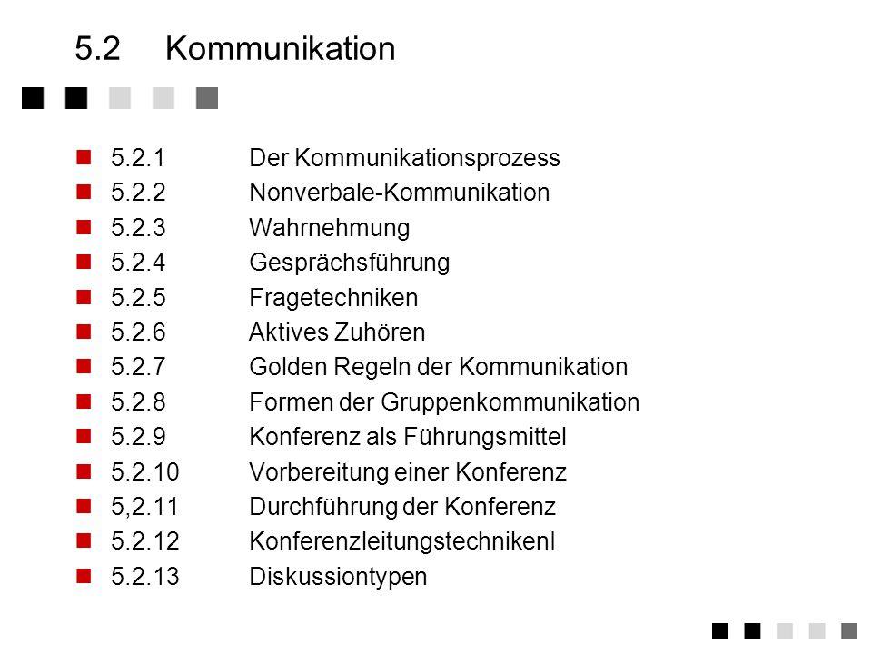 5.2 Kommunikation 5.2.1 Der Kommunikationsprozess
