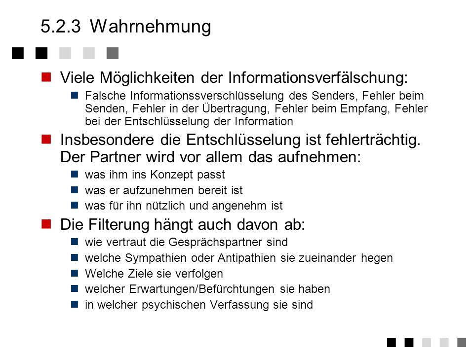 5.2.3 Wahrnehmung Viele Möglichkeiten der Informationsverfälschung: