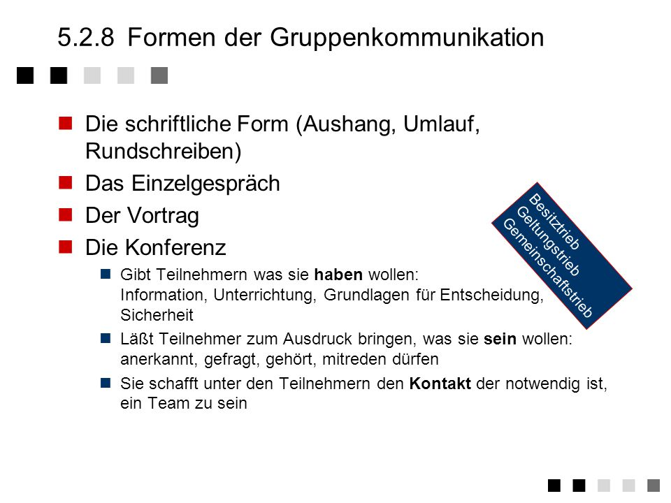 5.2.8 Formen der Gruppenkommunikation