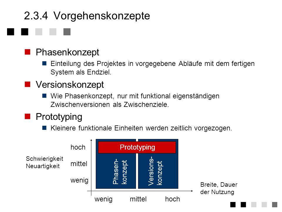 2.3.4 Vorgehenskonzepte Phasenkonzept Versionskonzept Prototyping