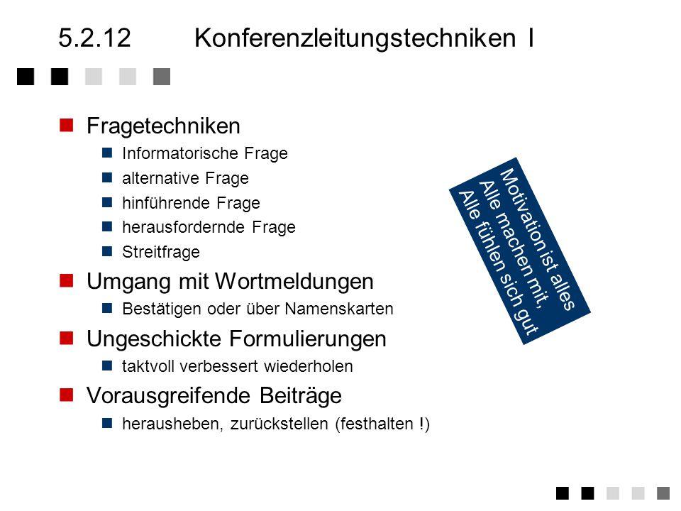 5.2.12 Konferenzleitungstechniken I