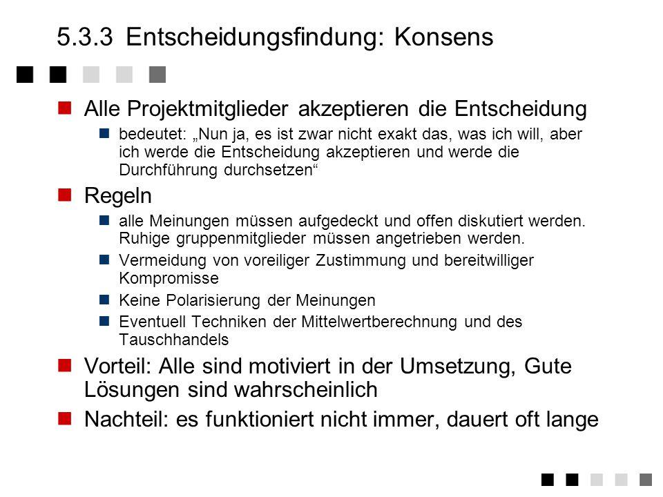 5.3.3 Entscheidungsfindung: Konsens