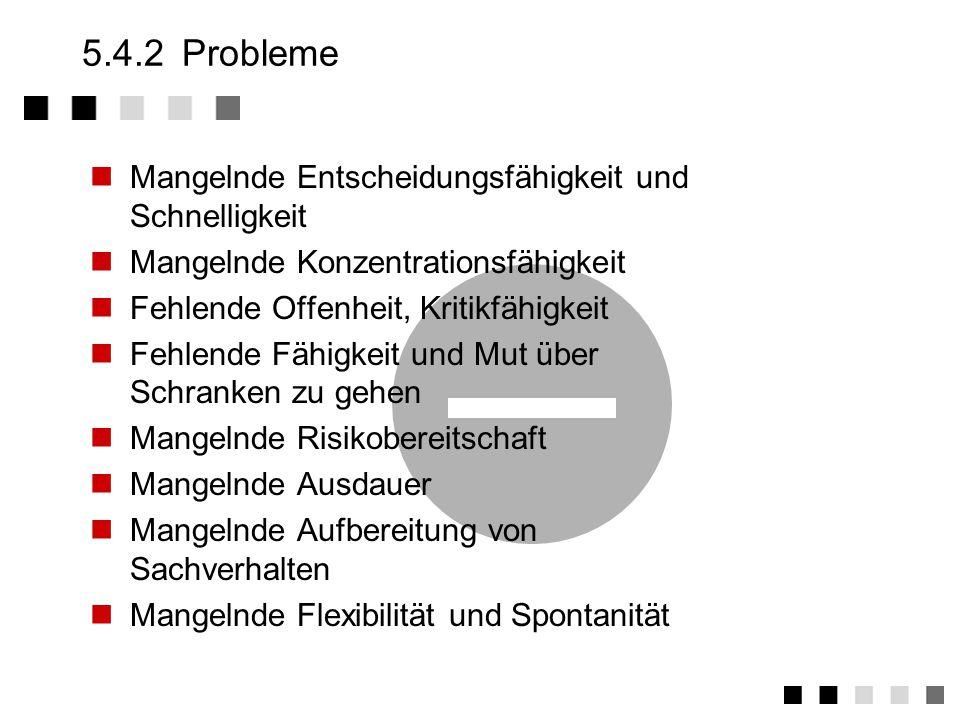 5.4.2 Probleme Mangelnde Entscheidungsfähigkeit und Schnelligkeit