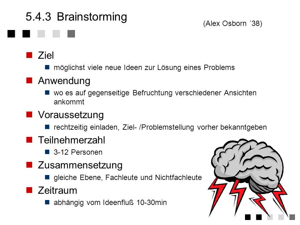 5.4.3 Brainstorming Ziel Anwendung Voraussetzung Teilnehmerzahl