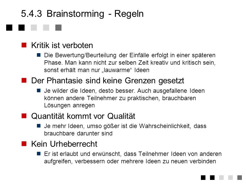 5.4.3 Brainstorming - Regeln