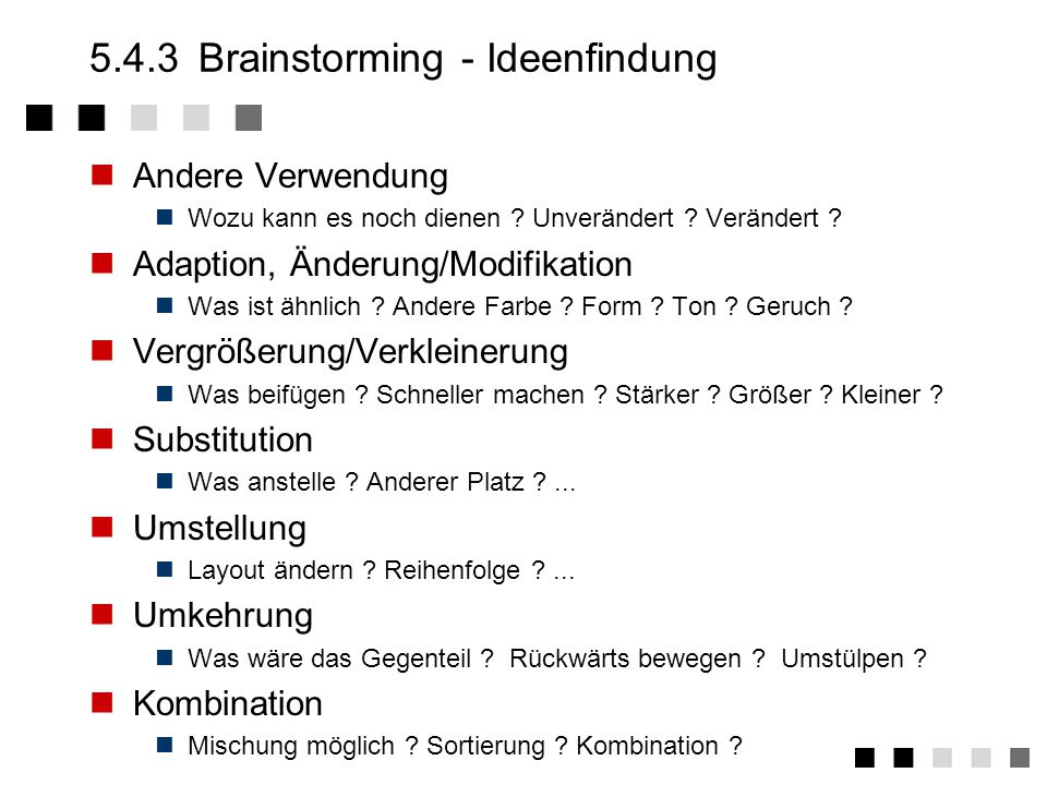 5.4.3 Brainstorming - Ideenfindung