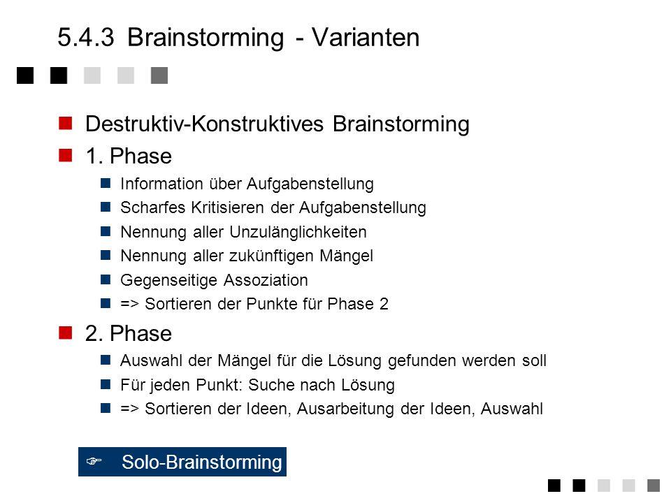 5.4.3 Brainstorming - Varianten