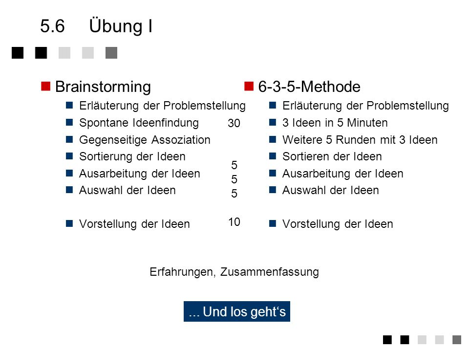 5.6 Übung I Brainstorming 6-3-5-Methode ... Und los geht's