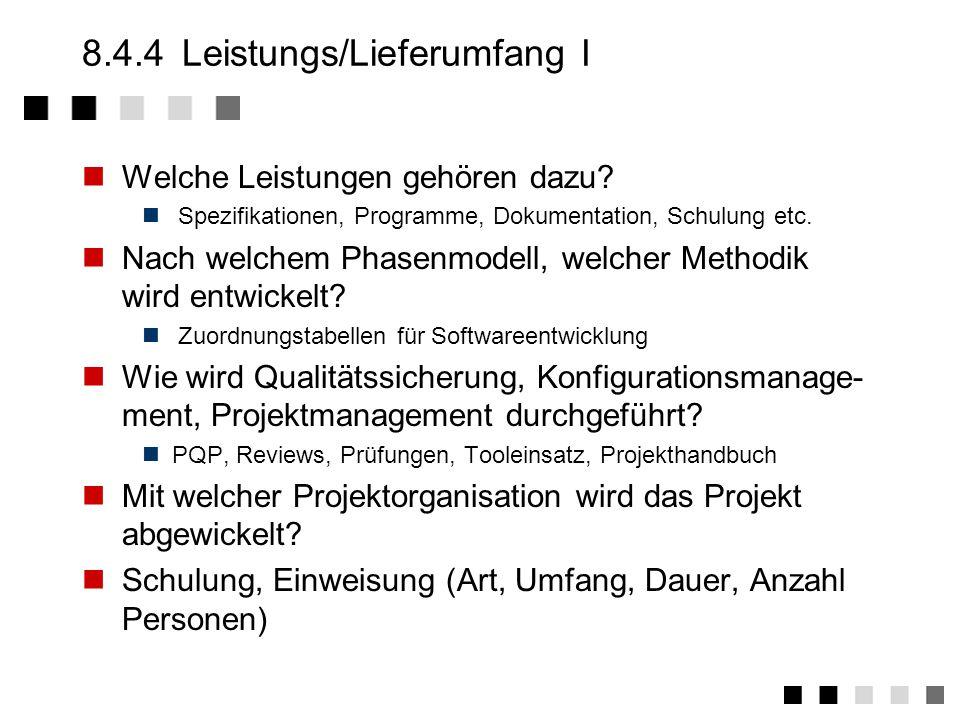 8.4.4 Leistungs/Lieferumfang I