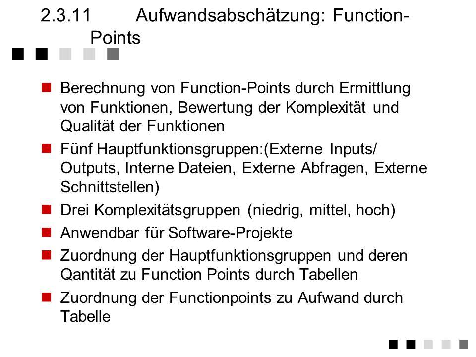 2.3.11 Aufwandsabschätzung: Function-Points