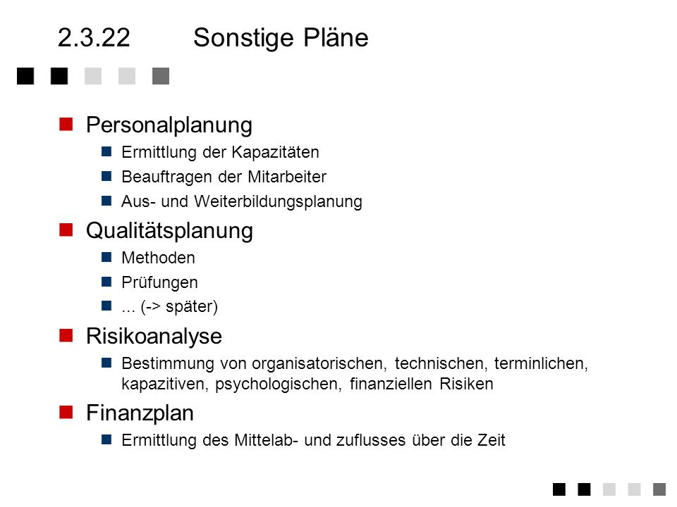 2.3.22 Sonstige Pläne Personalplanung Qualitätsplanung Risikoanalyse
