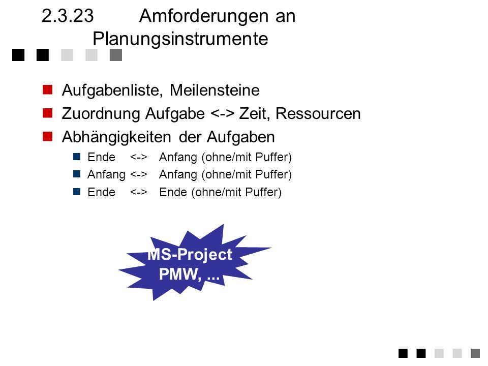 2.3.23 Amforderungen an Planungsinstrumente
