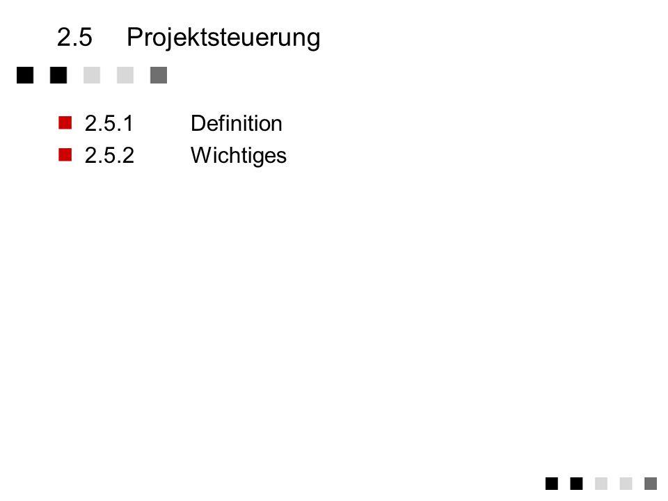 2.5 Projektsteuerung 2.5.1 Definition 2.5.2 Wichtiges