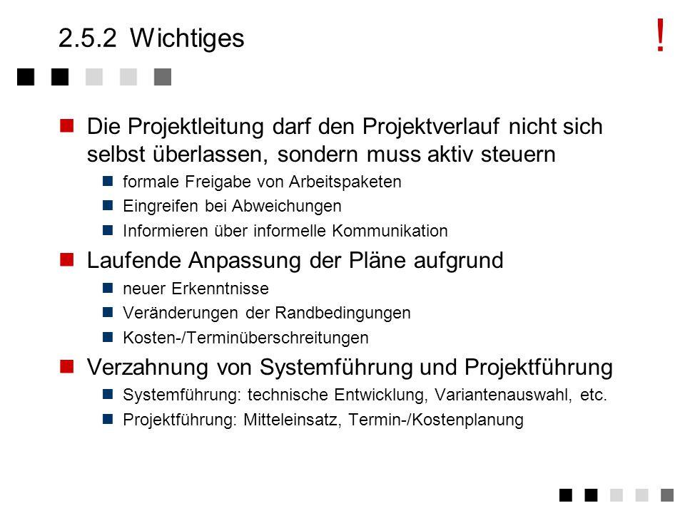 ! 2.5.2 Wichtiges. Die Projektleitung darf den Projektverlauf nicht sich selbst überlassen, sondern muss aktiv steuern.