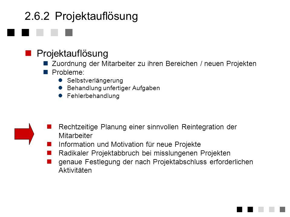 2.6.2 Projektauflösung Projektauflösung