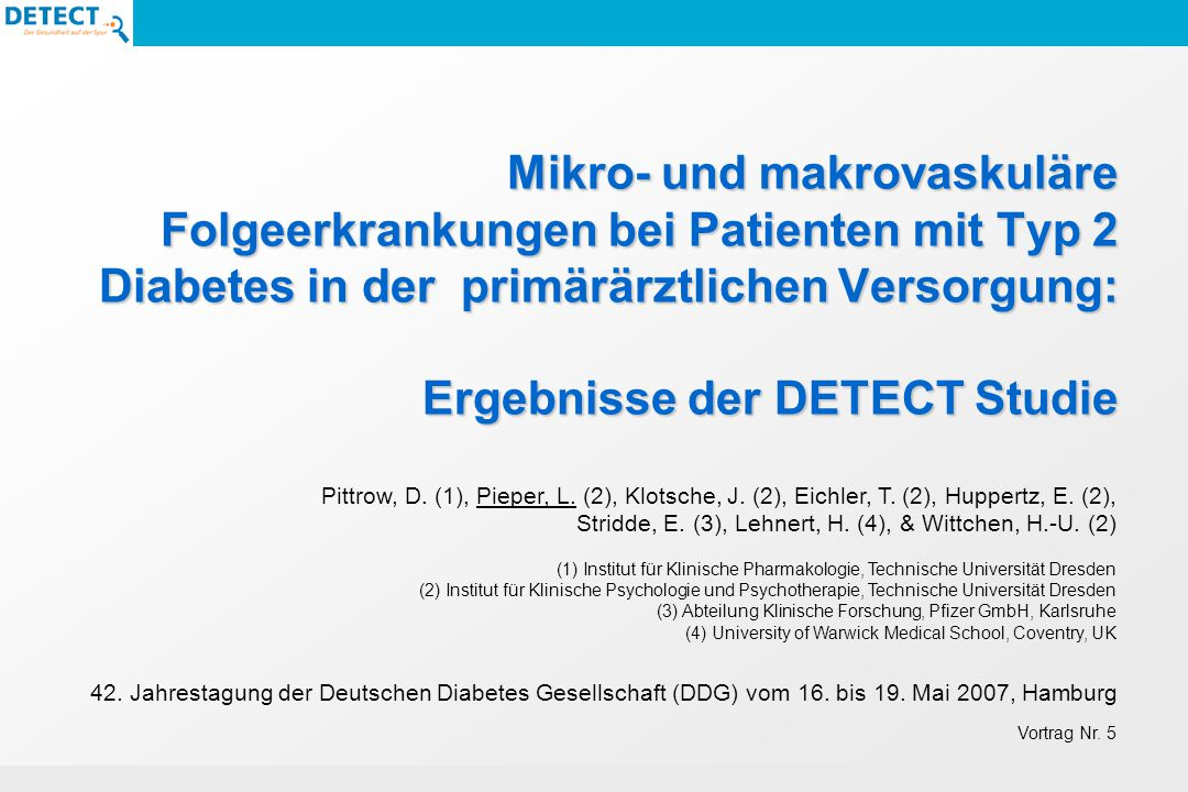 Mikro- und makrovaskuläre Folgeerkrankungen bei Patienten mit Typ 2 Diabetes in der primärärztlichen Versorgung: Ergebnisse der DETECT Studie